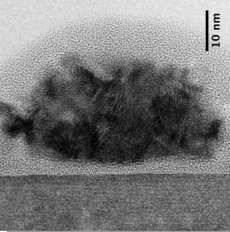 high-resolution TEM image of Si/SiO2/Rh stack