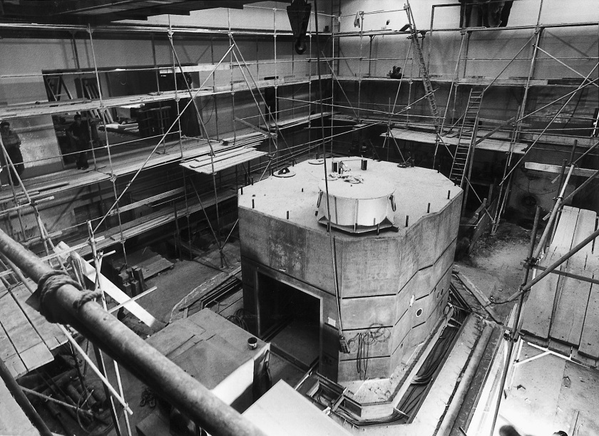 Construction site of the research reactor BER I - enlarged view