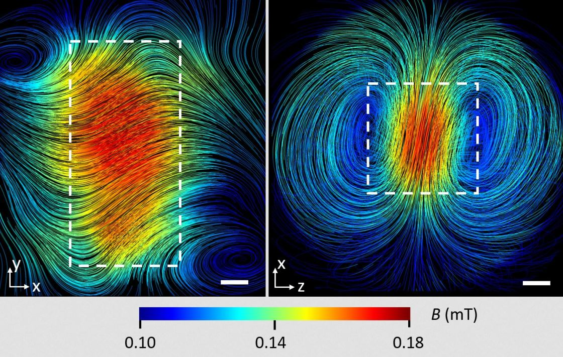 Course of the magnetic field lines inside a superconducting lead cuboid