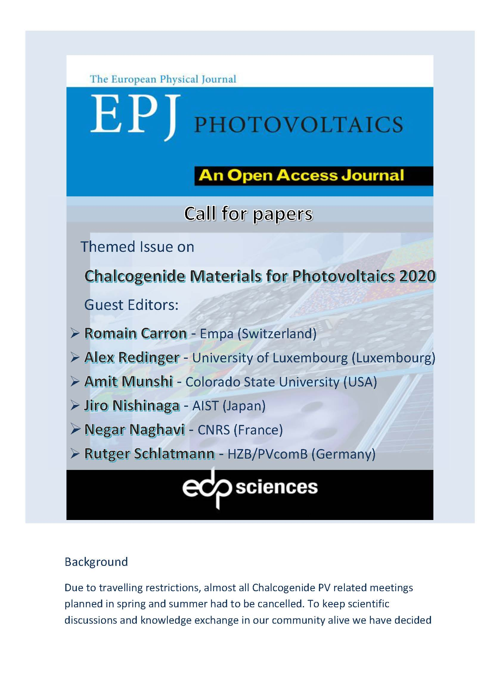 EPJ Photovoltaics - enlarged view