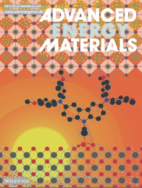 """Self‐Assembled Hole Transporting Monolayer for Highly Efficient Perovskite Solar Cells"". Cover of current issue of Advanced Energy Materials."