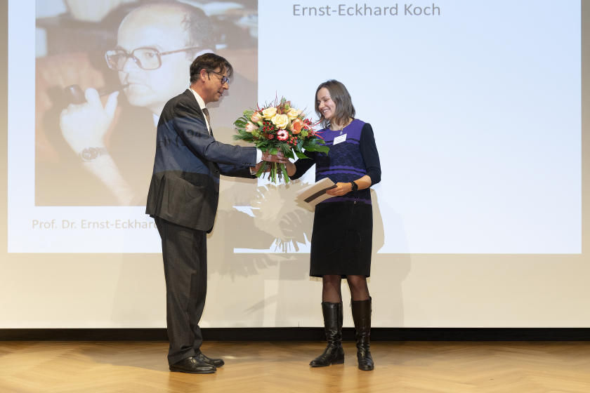 The Ernst Eckhard Koch Prize went to Dr. Victoriia Saveleva (right) for her work on catalysts.