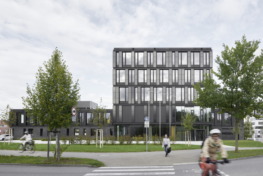 Facade with integrated CIGS thin-film solar modules at the institute building of the ZSW in Stuttgart.