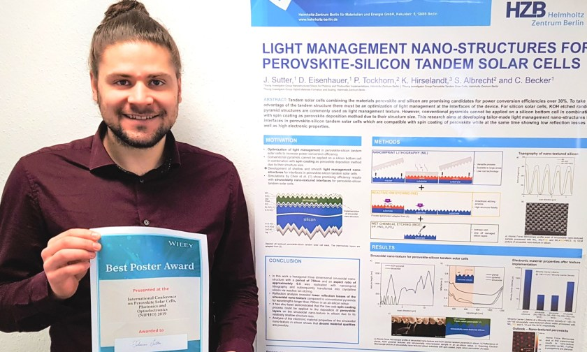 Johannes Sutter received an award for his poster on solarcells at the NIPHO19.