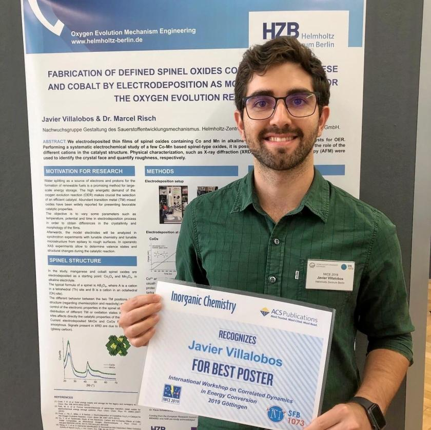 Congratulation to Javier Villalobos from the Young Investigator Group <br />Oxygen Evolution Mechanism Engineering at HZB.