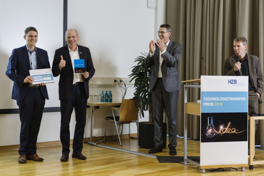 </p> <p>Happy winners of the 2019 Technology Transfer Prize: Prof. Jens Anders and Prof. Klaus Lips.