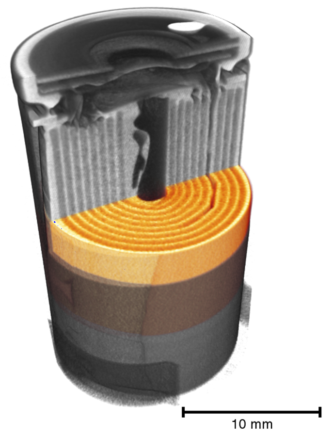 3D-Image of a battery, virtually cut with a computer programm.