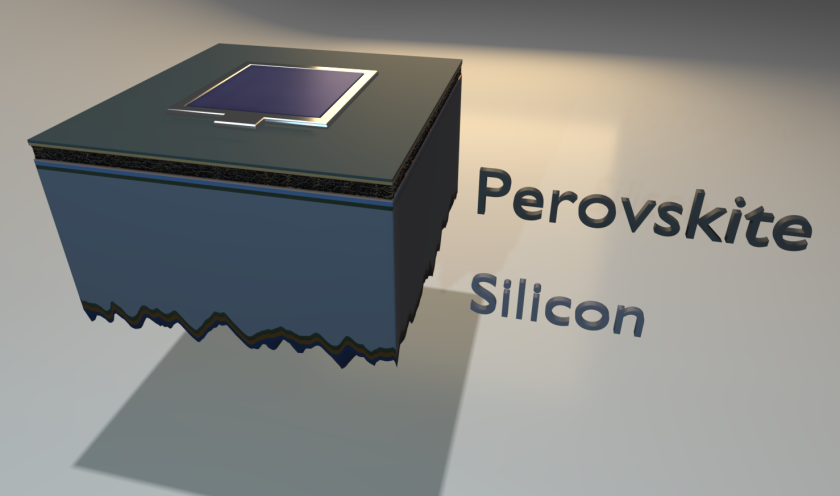 The illustration shows the structure of the tandem solar cell: between the thin perovskite layer (black) and the silicon layer (blue) are functional intermediate layers.