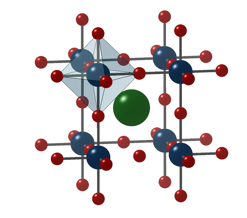 Perovskite oxides are characterized by the molecular formula ABO<sub>3</sub>, where the elements A (green) and B (blue) are located on specific lattice sites and are surrounded by oxygen (red).