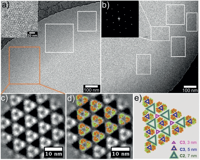 (a,b) Cryo-electron microscopy of the 2D-grating and the diffraction pattern of a section. (c-e) Magnification shows the 2D Pascal triangular pattern, with the inserted protein molecules.