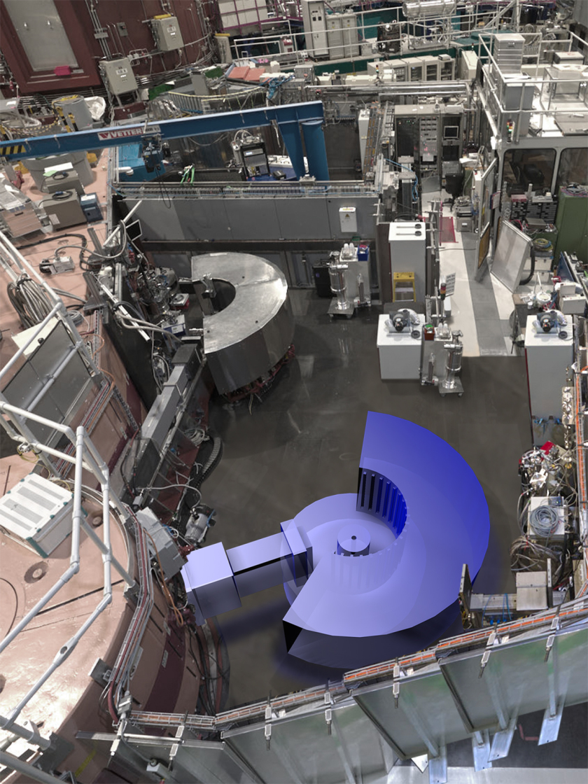 Two structure powder diffractometers next to each other: the high structure powder diffractometer SPODI (above) in the MLZ experimental hall will be neighbouring FIREPOD.