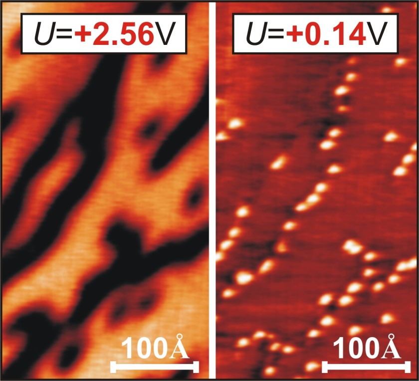 Microscopical image of a graphene layer on a nickel substrate.<br />The image to the left, which was measured at an arbitrary bias<br />voltage of the microscope tip, shows just dark stripes. Only after<br />the bias voltage has spectroscopically been tuned to the very C60<br />molecules (right), they become visible beneath the graphene layer<br />as the cause of the stripe pattern.