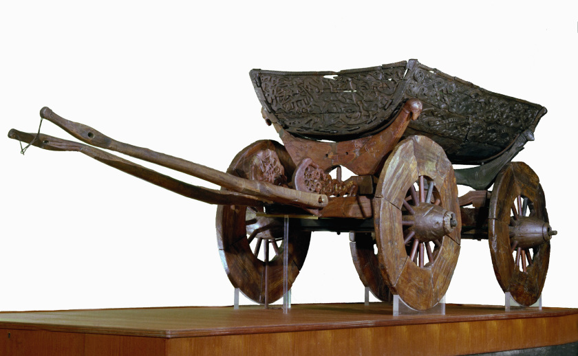 © Museum of Cultural History, University of Oslo /<br />Eirik Irgens Johnsen<br />The wood fibres of the richly decorated ceremonial wagon<br />are disintegrated because of the preservation method.