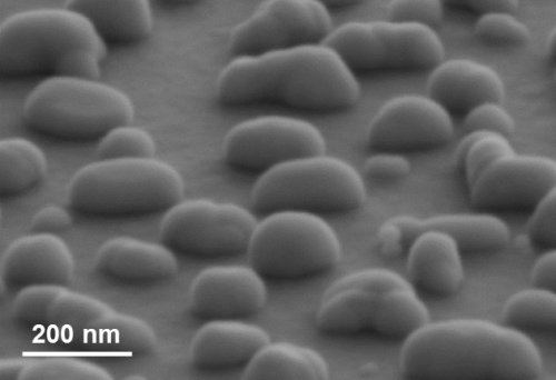 The silver nanoparticles are irregularly shaped and randomly distributed over the surface, as shown by the scanning electron microscope image.<br />