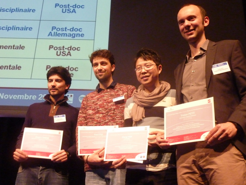 Dr. Tristan Petit (right side) received a C'Nano award under the category of interdisciplinary research for his doctoral dissertation in late 2014. Credit C'Nano