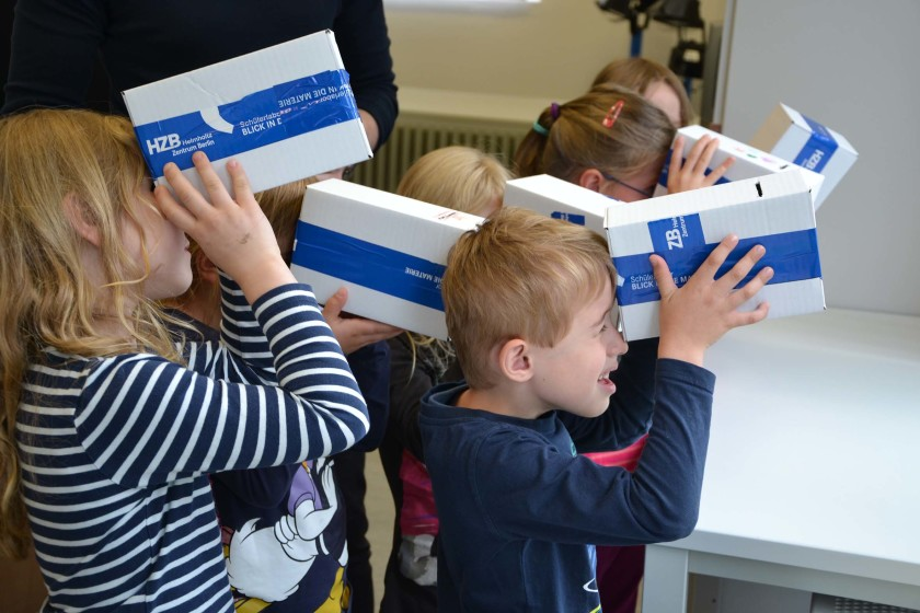 <strong>Watching the sky:</strong> The kindergarten Kids built spectroscopes and used them to study the different kinds of light.