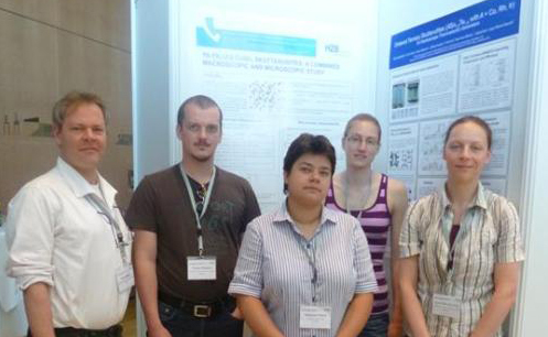HZB Group at the ICT/ECT2015. From left to right: Dr. Klaus Habicht (Head of the Department for Methods for Characterization of Transport Phenomena in Energy Materials), Dr. Tommy Hofmann, Dr. Katharina Fritsch, Dr. Britta Willenberg, Dr. Katrin Meier-Kirchner