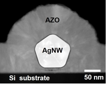 """A STEM-cross sectional image of an Silver-nanowire encapsulated by AZO. <a href=""""http://www.sciencedirect.com/science/article/pii/S2211285515002815"""" class=""""Extern"""">doi:10.1016/j.nanoen.2015.06.027</a>"""