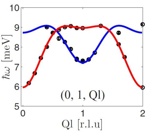 The magnetic excitations of LiFePO<sub>4</sub> as measured on the recently upgraded cold neutron triple axis spectrometer FLEXX. Two model dispersion branches were fitted to the data&mdash;a high-intensity one (red line) and a low-intensity one (blue line).