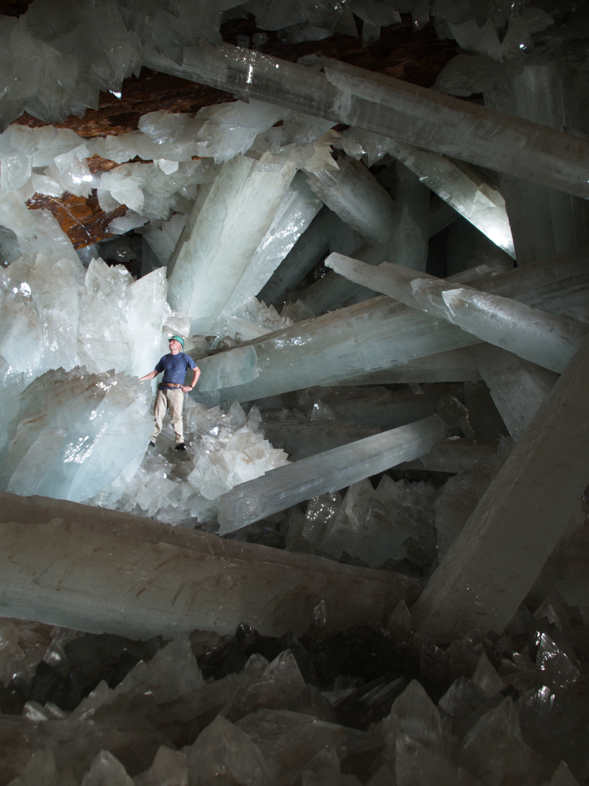 The Giant Gypsum Crystals from the Naica cave in Mexico.