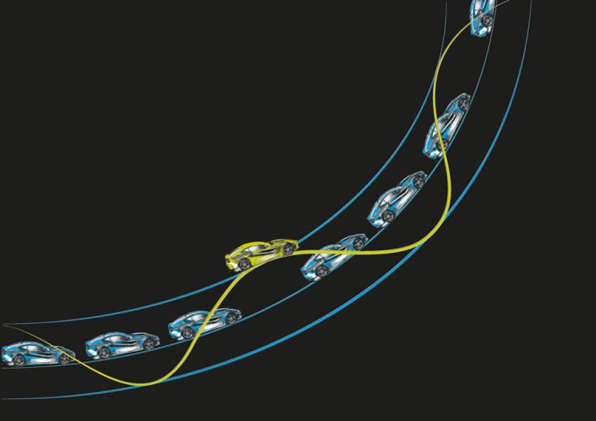 The picture illustrates a hypothetical highway with the second path winding around the first one. Experimenters at the beamlines could then either use the dense sequence of light pulses from the primary electron path or select individual light pulses from the secondary orbital track.
