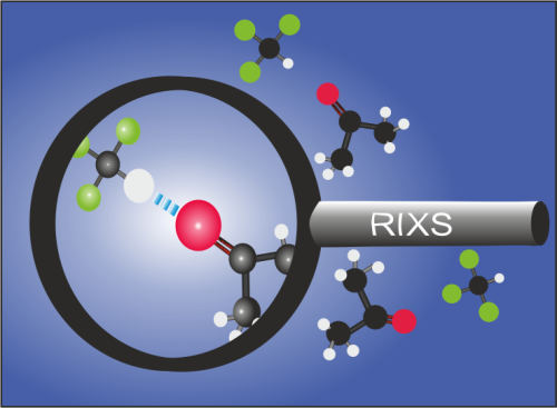 The team could observe for the first time with RIXS how the formation of hydrogen bonds does change C=O bonds in aceton molecules.