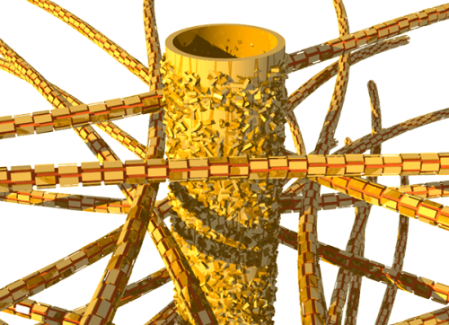 <span>Dentin's biological structure: tubules and mineral nanoparticles embedded in a network of collagen fibers. Image</span>: Jean-Baptiste Forien, &copy; <span>Charit&eacute;</span> &ndash; Universit&auml;tsmedizin Berlin