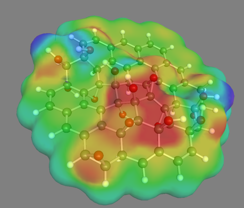 Initial calculations show how the electron density changes over a graphene oxide nanoparticle in solution. The electron density is below average in the areas shown in red, while it is above average in the blue areas. The graphene particle is made of carbon atoms (black) that bind in some places to the oxygen (red) , or in some to the hydrogen (white).