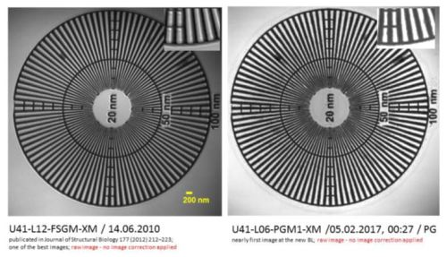 Comparison of the same specimen at the old Beamline (left) and the new HZB-XM-Beamline (right).