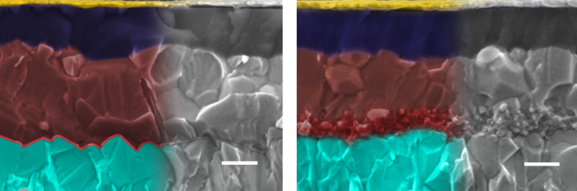 "<p class=""MsoNoSpacing"">SEM-images of the different perovskite solar cell architectures, left with planar interface, right with mesoporous interface. Images are coloured: metal oxide (light blue), interface (red), perovskite (brown), hole conducting layer (dark blue), topped with contact (gold).  Scale bar is 200 nm. </p> <p>"