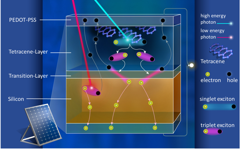 Principle of a silicon singlet fission solar cell with incorporated organic crystalls<br />