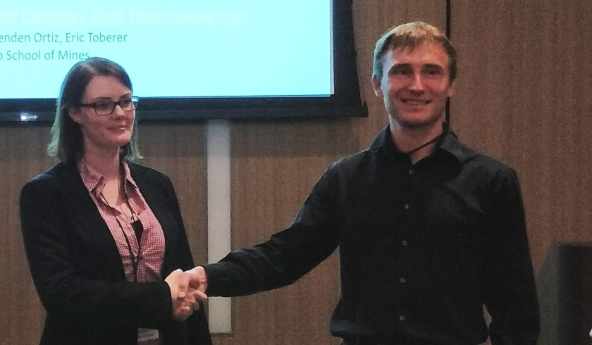 Andriy Zakutayev (NREL), member of the jury, has awarded Fredrike Lehmann for her poster at ICTMC-21 in Boulder, Colorado, USA.