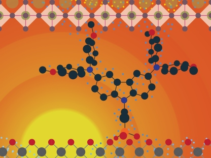 The molecule organises itself on the electrode surface until a dense, uniform monolayer is formed.