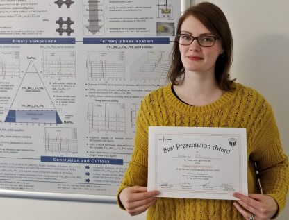 Frederike Lehmann earned an award for her presentation at the annual meeting of the German Society for Crystallography.