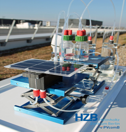 Integrated PV-EC device during performance tests in the outdoor test bed for realistic operating condition.