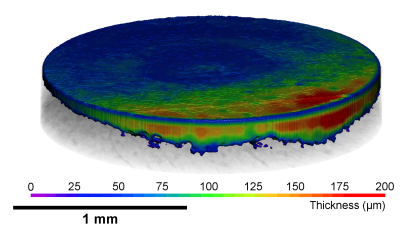 The tomogram during the charging process shows the spatially resolved changes in the graphite electrode thickness of a rechargeable aluminium ion battery in a discharged and charged state.