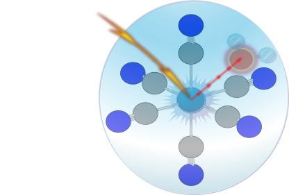 X-ray photon taking electron from the Fe(III) active center to the water mixed orbital in time scale faster than 7 femtoseconds (the corehole life time of Fe(III))
