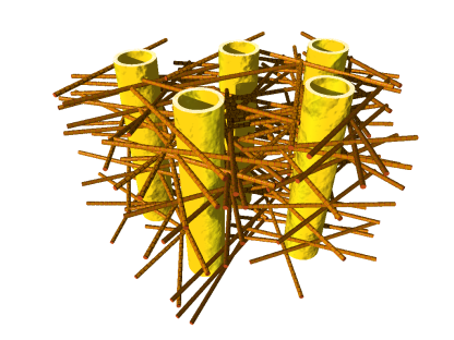 Illustration of the complex biostructure of dentin: the dental tubuli (yellow hollow cylinders, diameters appr. 1 micrometer) are surrounded by layers of mineralized collagen fibers (brown rods). The tiny mineral nanoparticles are embedded in the mesh of collagen fibers and not visible here.