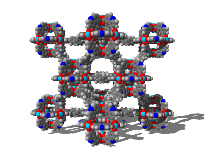 The three-dimensional structural network of the ultra-porous and flexible material called DUT-49 can store large amounts of methane. © TU Dresden, Prof. AC1