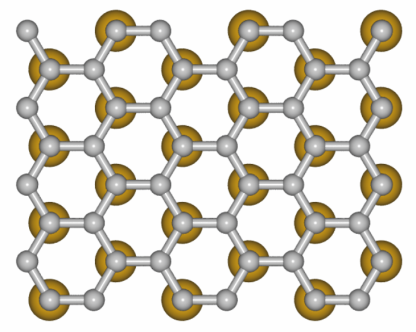 The model illustrates how the gold atoms sit under the graphene.