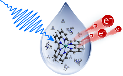A pump pulse promotes the molecule's electrons to an excited state and with probe pulses the binding energy of the excited electrons can be measured. However, pump-probe laser experiments are only feasible under ultra-high vacuum.