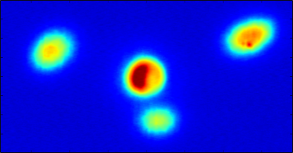 A synchrotron source point image of a bending magnet of the Twin Orbit modus. The second orbit closes after three revolution and is winding around the standard orbit at the center.