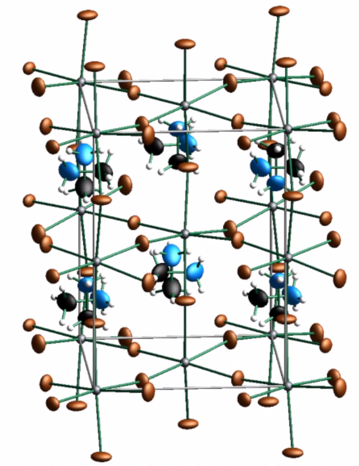 <p>Movie showing the 3D crystal structure as a function of the cell modulation phase. (grey: Pb, brown: Br, black: C, blue: N; white: H)</p>