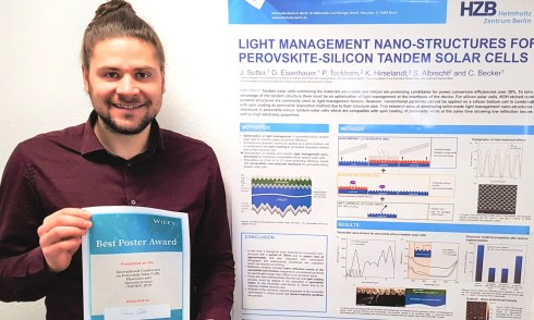<p>Johannes Sutter received an award for his poster on solarcells at the NIPHO19.</p>