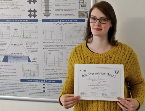 <p>Frederike Lehmann earned an award for her presentation at the annual meeting of the German Society for Crystallography.</p>