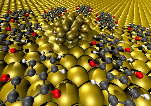 Upon contact between the oxygen atoms protruding from the backbone and the metal, the molecules' internal structure changed in such a way that they lost their semiconducting properties and instead adopted the metallic properties of the surface.</br>Visualisation: Georg Heimel/HU Berlin
