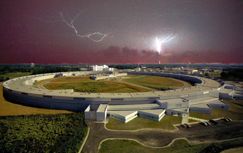 <p>The Advanced Photon Source facility illuminated by lightning. (Credit: Argonne National Laboratory)</p>