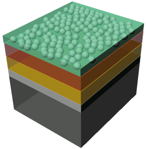 <p>The illustration shows the structure of the sample: n-doped silicon layer (black), a thin silicon oxide layer (gray), an intermediate layer (yellow) and finally the protective layer (brown) to which the catalysing particles are applied. The acidic water is shown in green. Credit: M.Lublow</p>