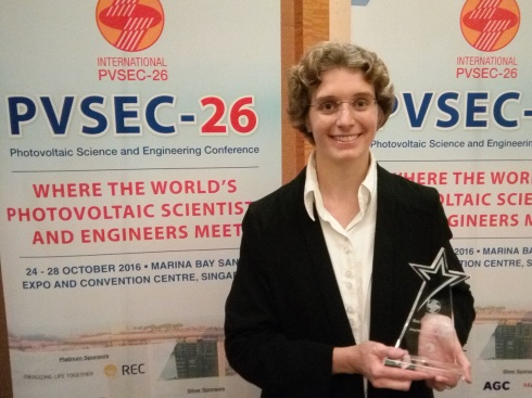 <p>Martina Schmid was awarded for her brillant presentation at PVSEC-26 in Singapore.</p>