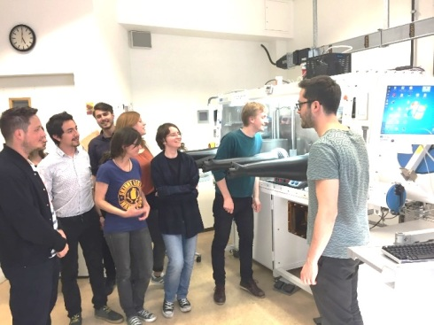 <p>Lab tour of the perovskite synthesis facility at the HZB Institute for Silicon Photovoltaics, on the occasion of the HyPerCells Research Colloquium in May 2017. Credit: HZB</p>